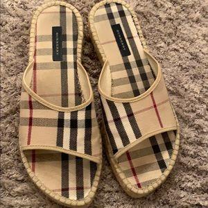 BURBERRY Canvas Nova Espadrilles Slip On Sandals